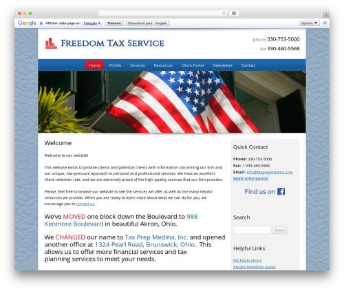 Customized company WordPress theme - freedomtaxakron.com