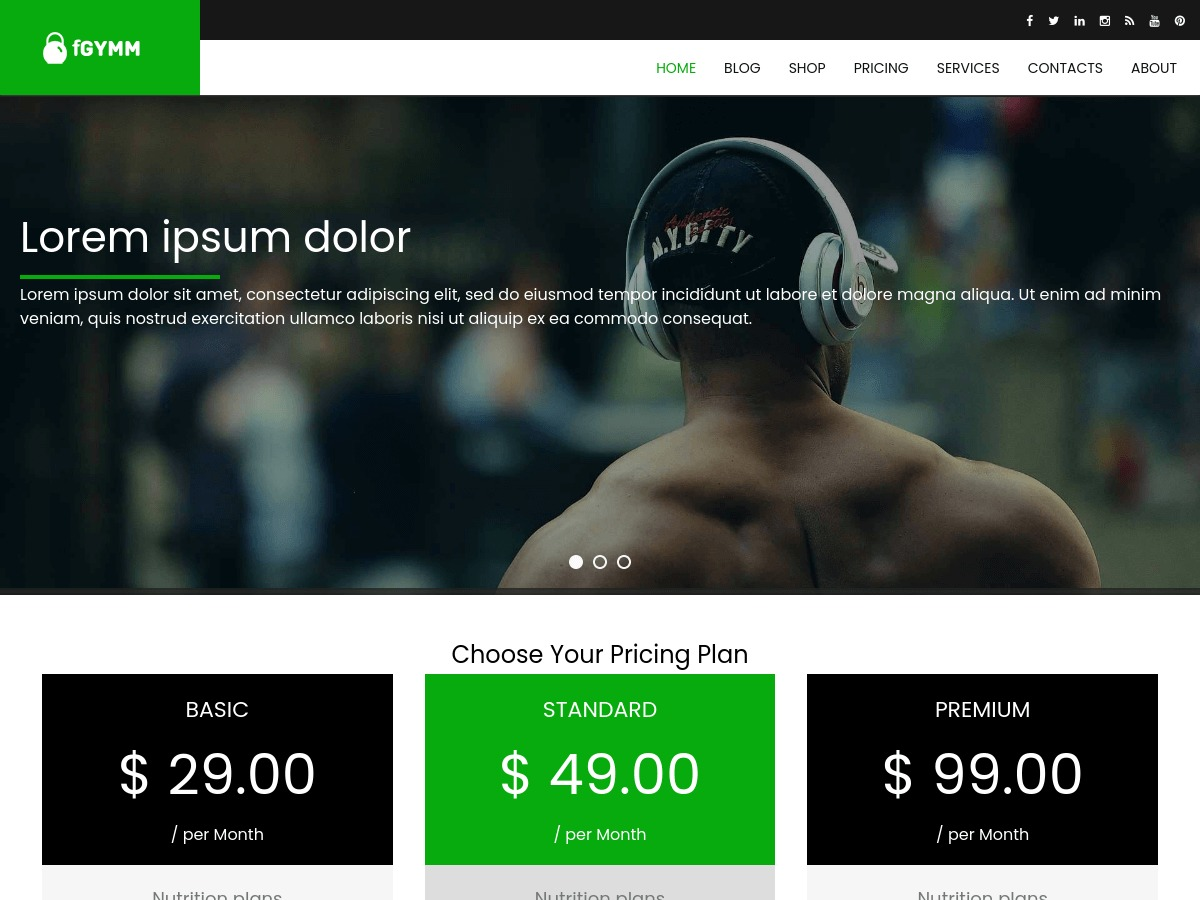 fGymm free WordPress theme