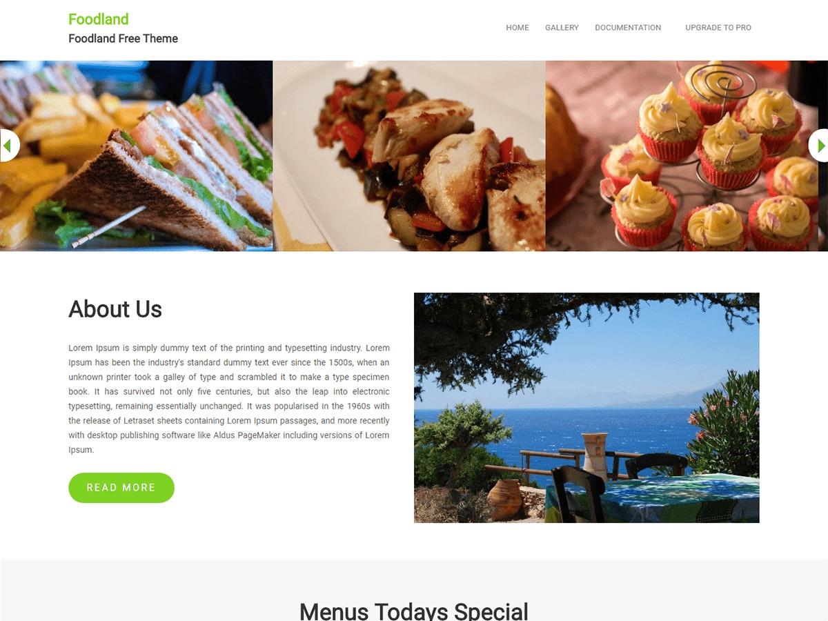Foodland WordPress template free download