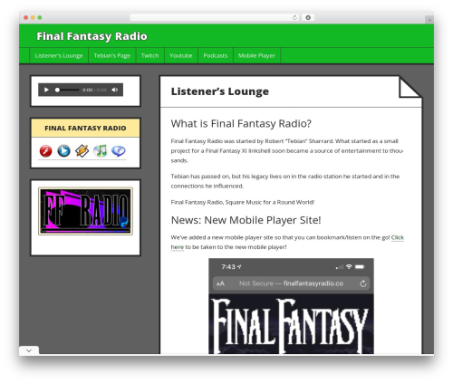 Press Start WordPress theme design - finalfantasyradio.co