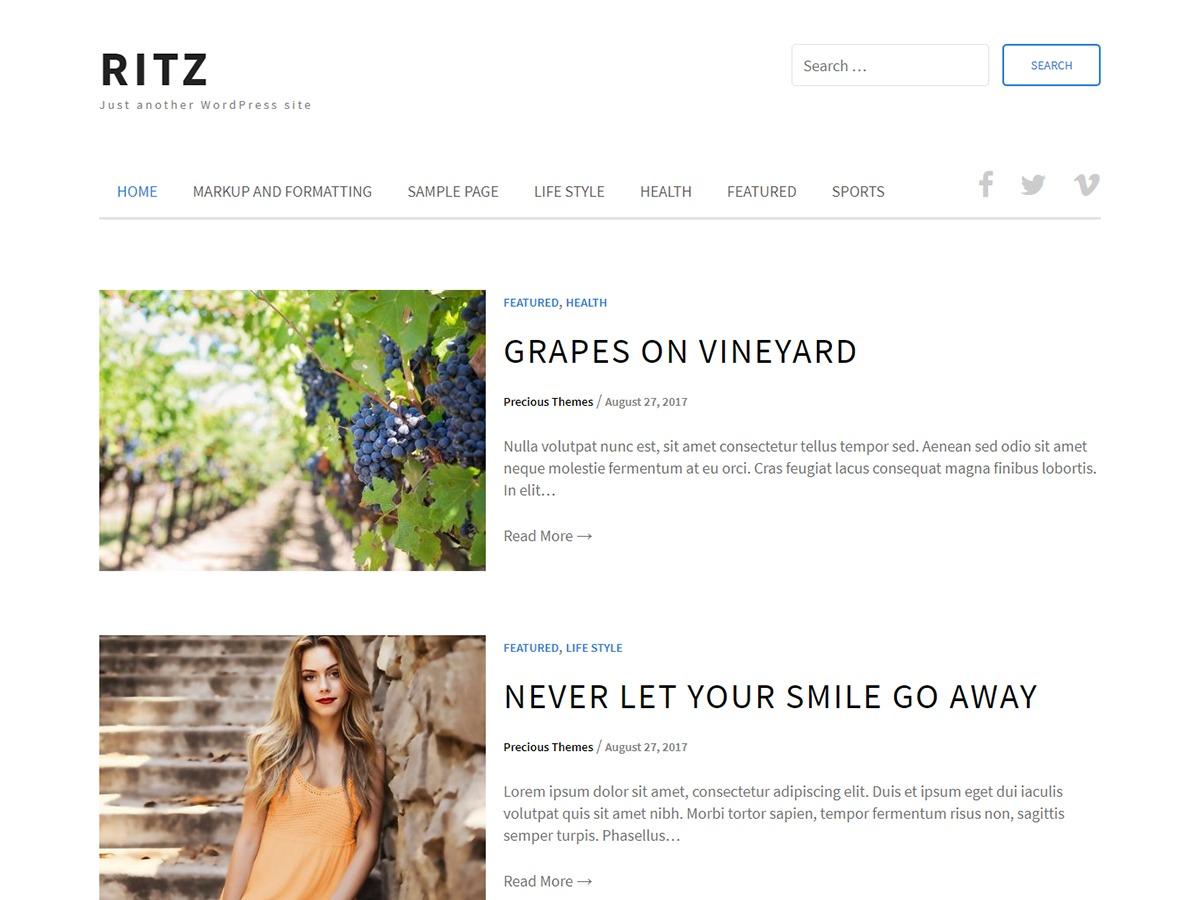 Ritz best free WordPress theme
