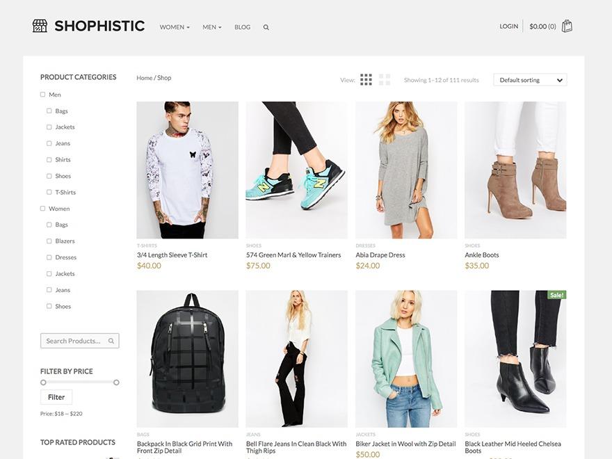 Shophistic WordPress ecommerce theme
