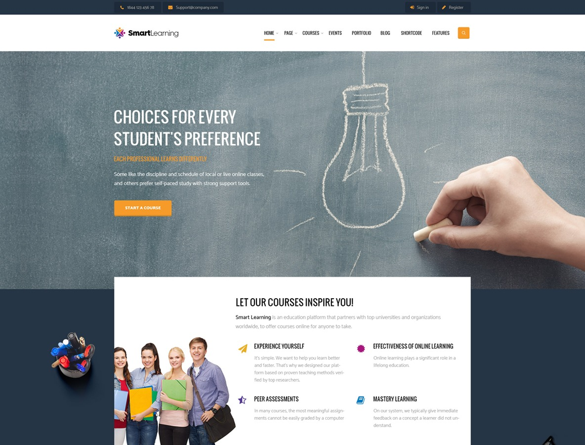 WordPress template smartlearning