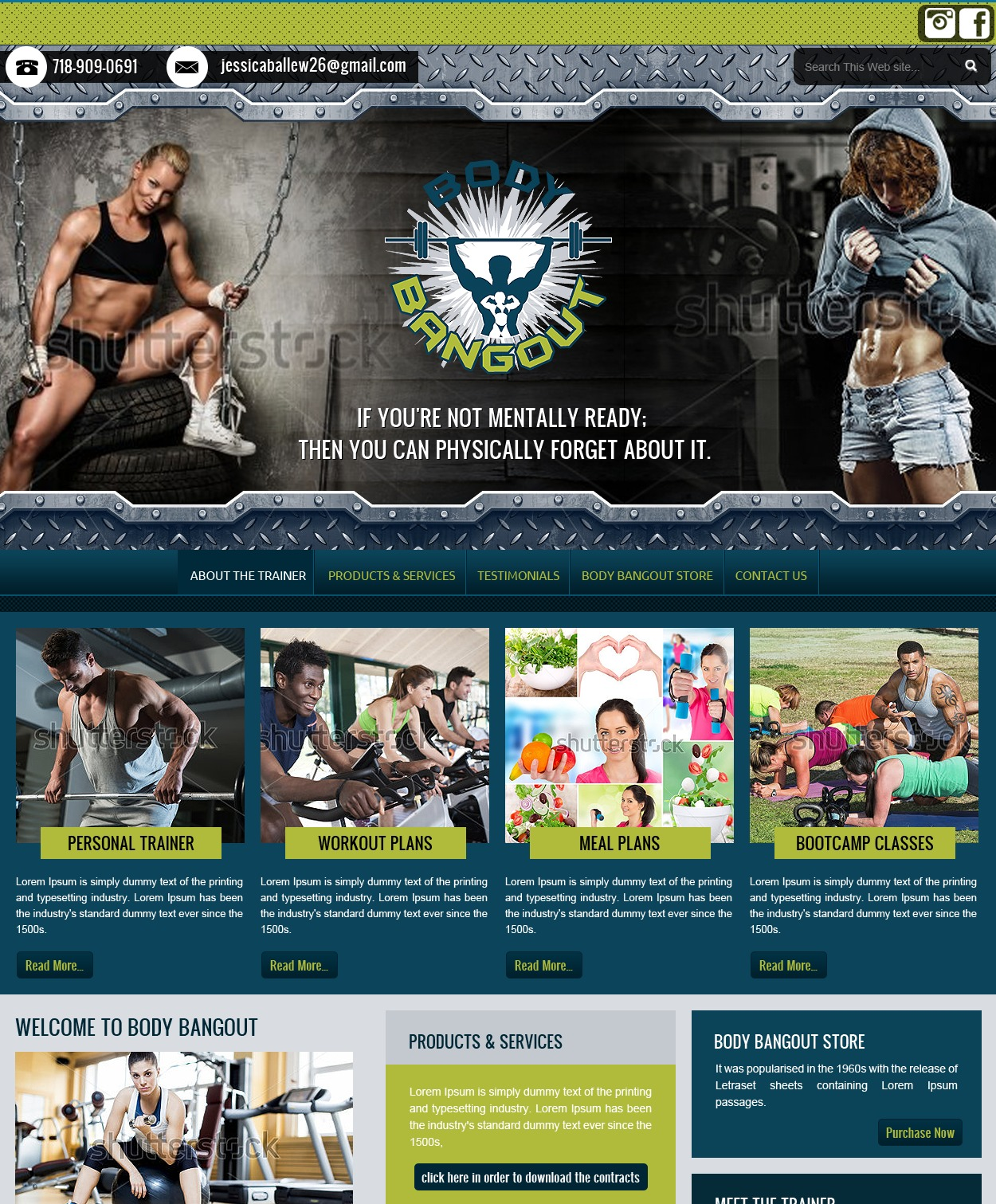 Body Bangout WordPress page template