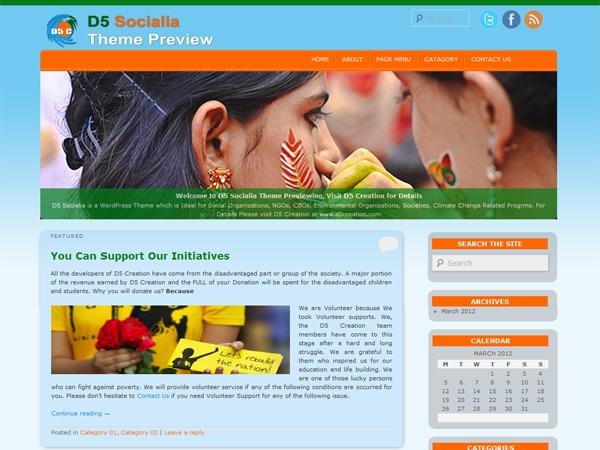 D5 Socialia Pro WordPress blog template