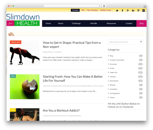 Codilight WordPress blog template - blog.slimdownforhealth.com