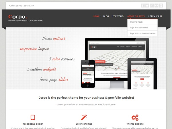 Corpo Custom WordPress portfolio template