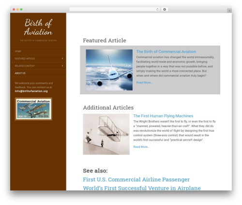 Flat WordPress theme - birthofaviation.org