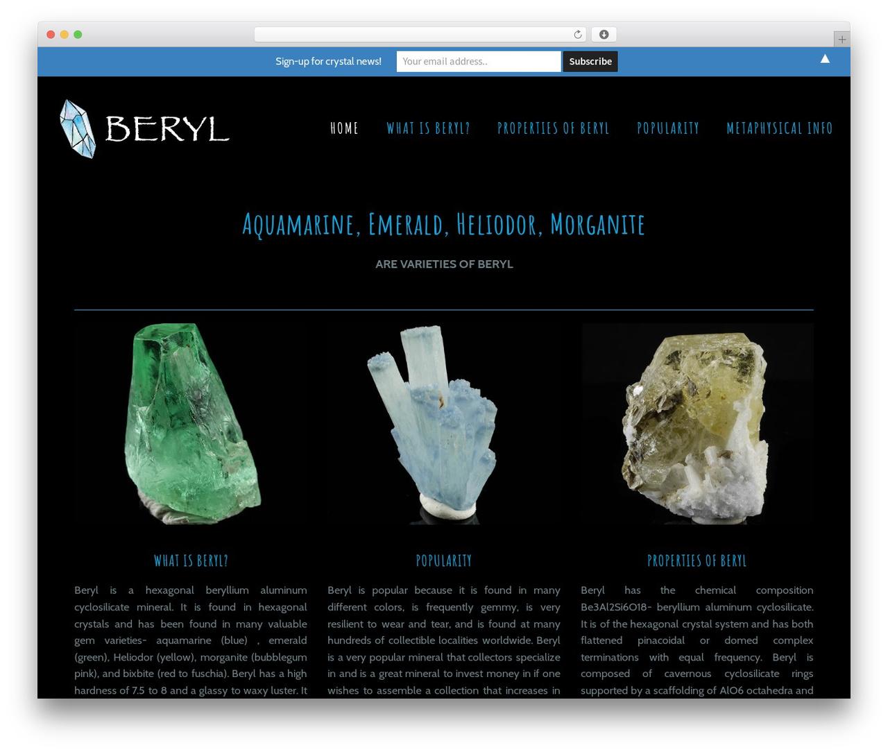 Beryl theme WordPress free - berylcrystals.com