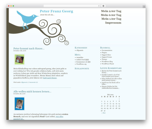 Bluebird WordPress theme - blog.pfgr.de