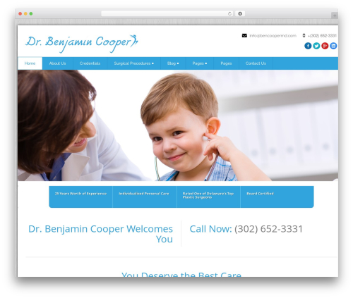 Health-Center-Pro best WordPress template - bencoopermd.com