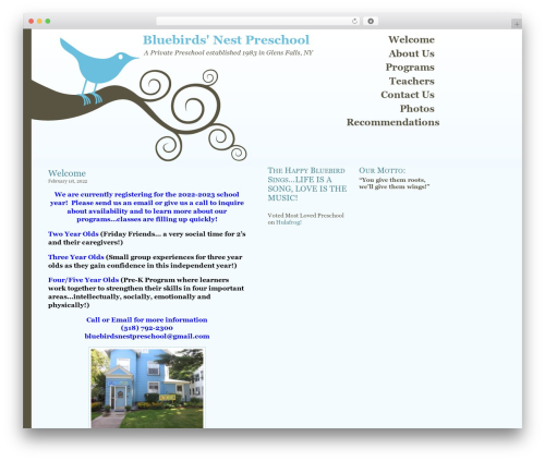Best WordPress theme Bluebird - bluebirdsnestpreschool.com
