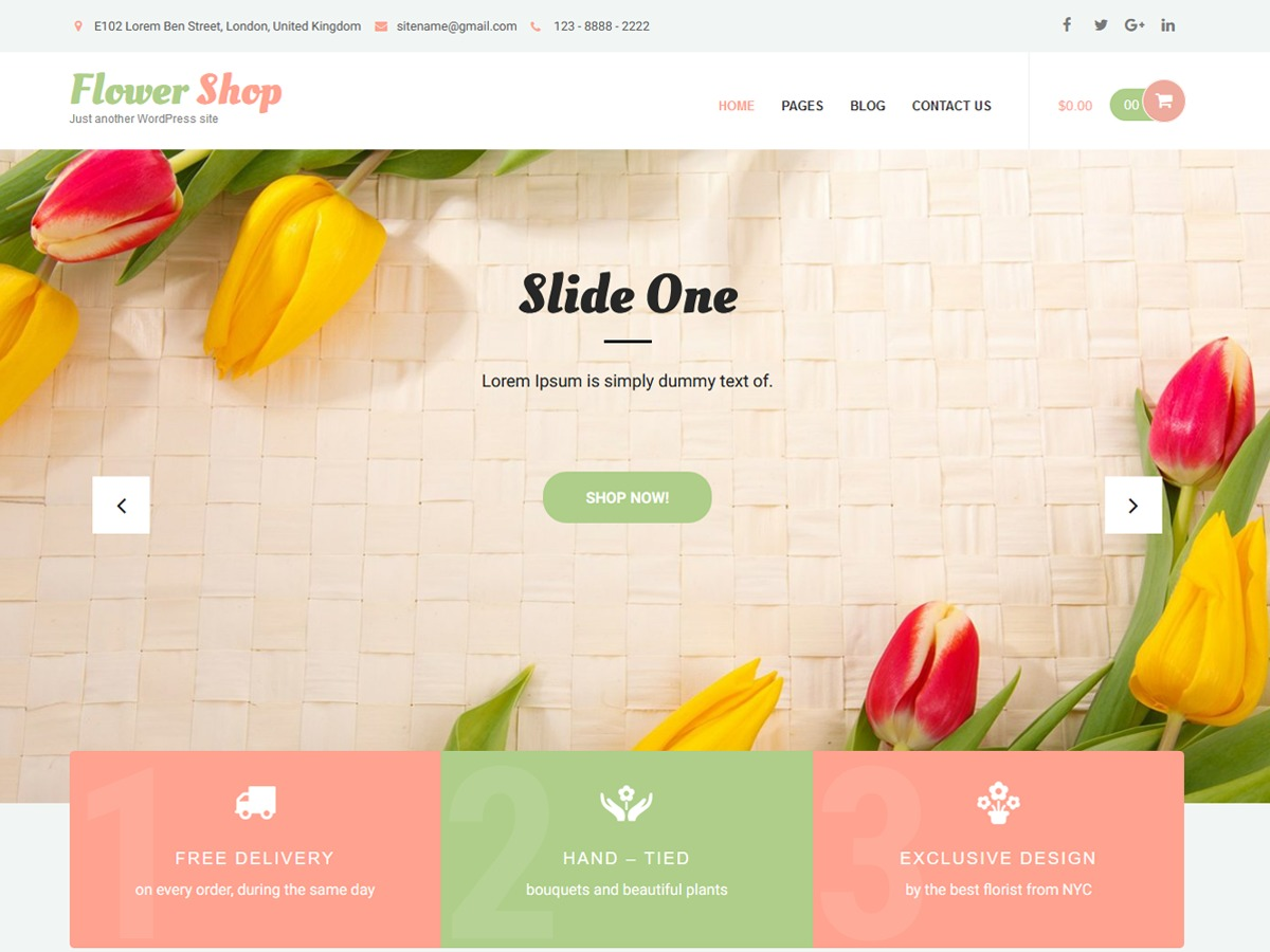 Flower Shop Lite WordPress ecommerce template