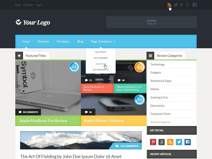 Reviewgine Affiliate WordPress theme design