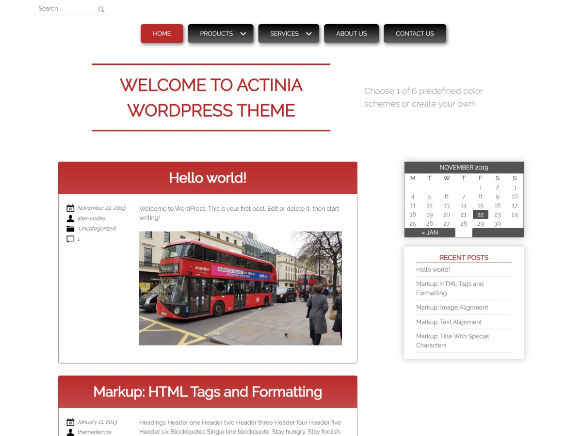 Actinia template WordPress free