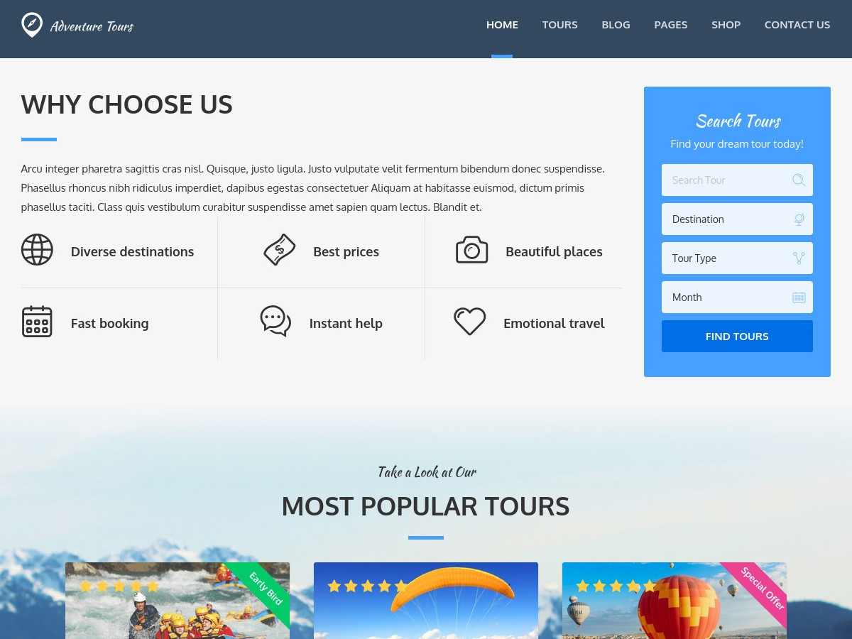 Adventure Tours theme WordPress