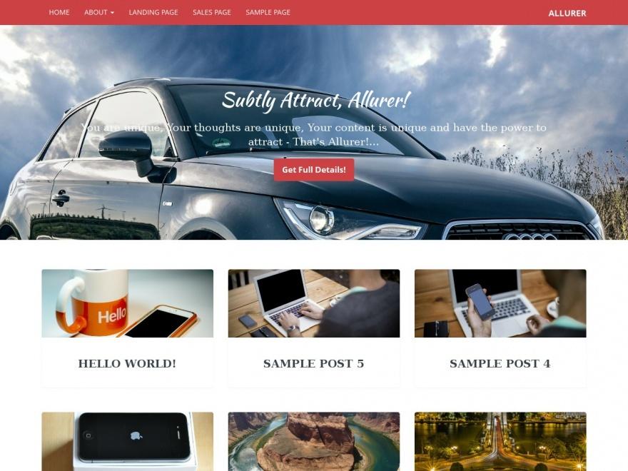 Allurer WordPress theme design