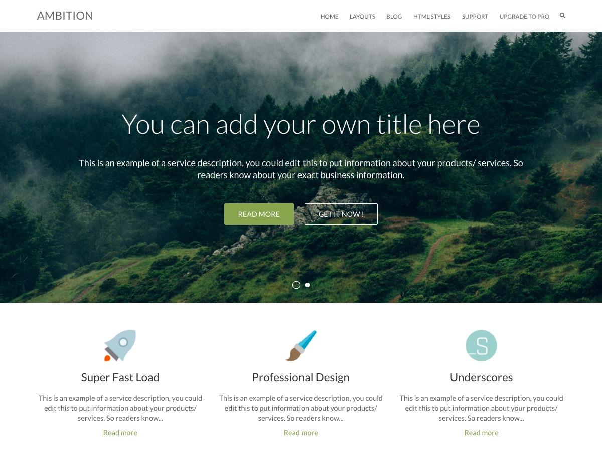 Ambition template WordPress free