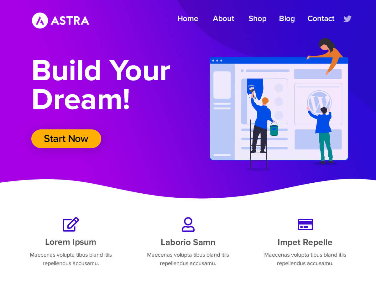 Astra Child WordPress page template