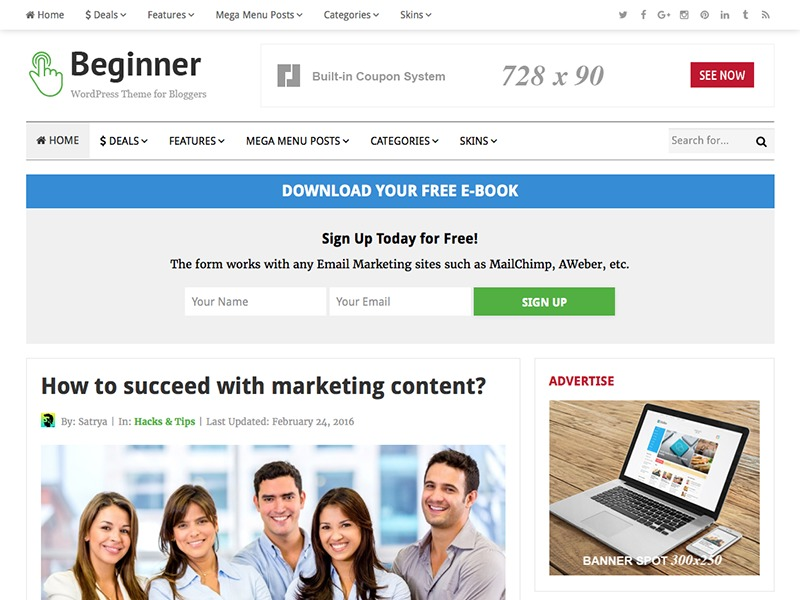 Beginner WordPress blog template