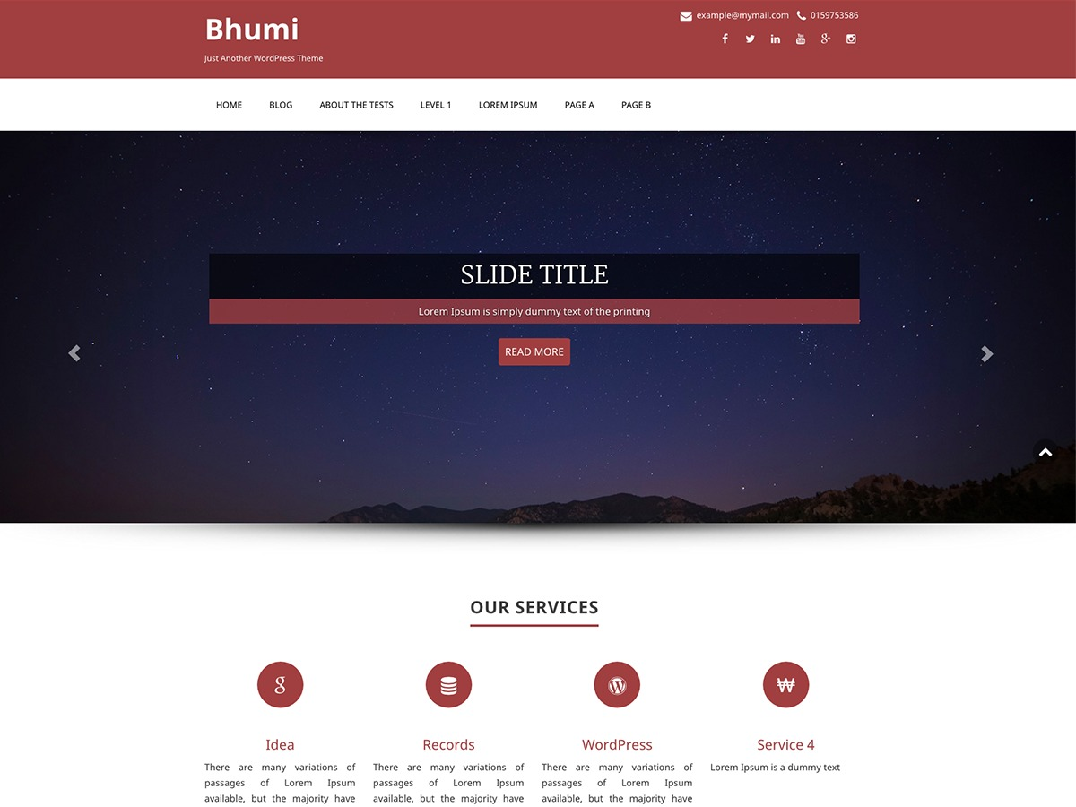 Bhumi company WordPress theme