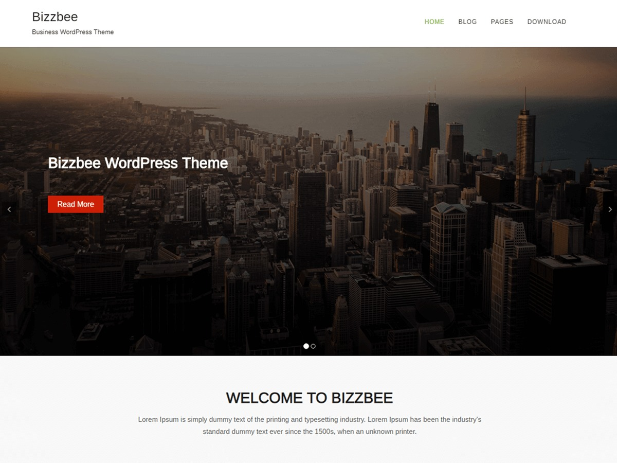 BizzBee template WordPress free