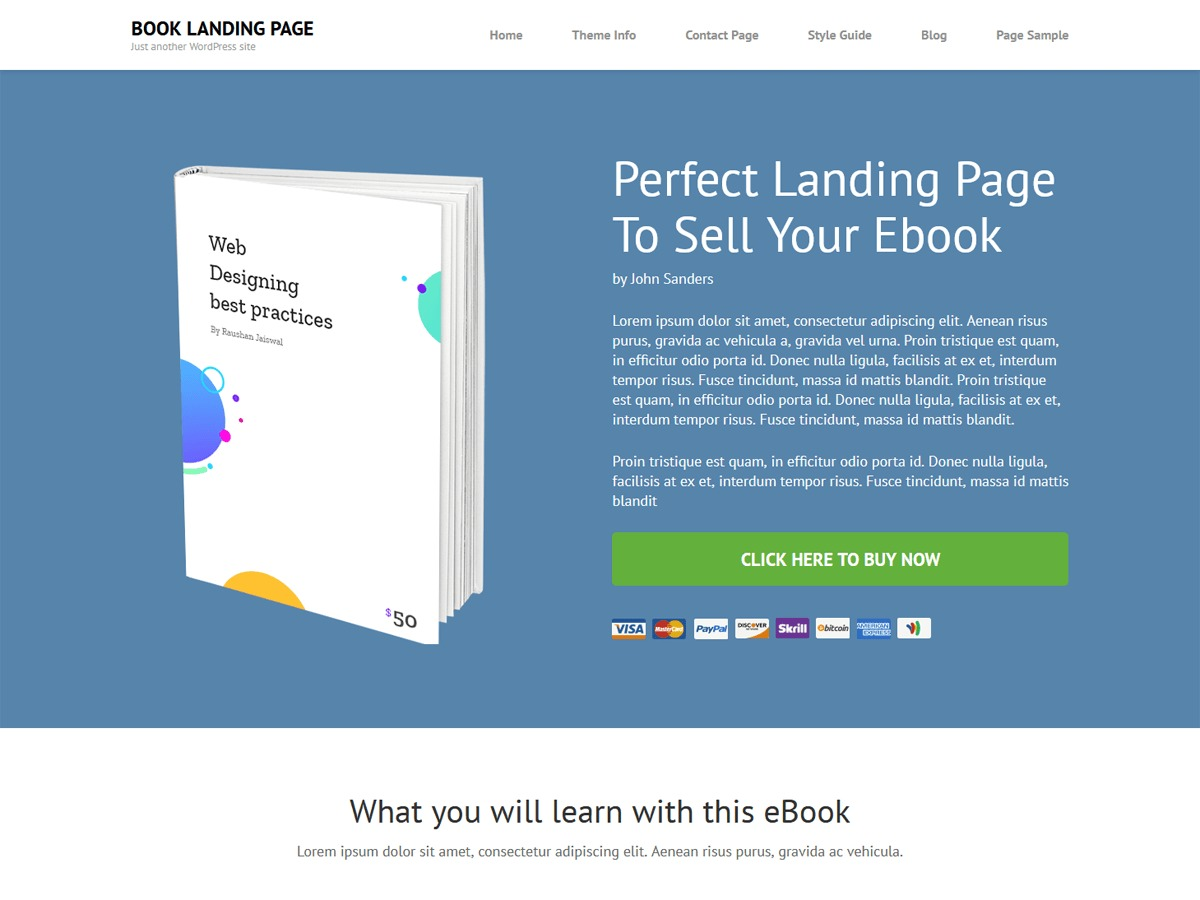 Book Landing Page template WordPress free