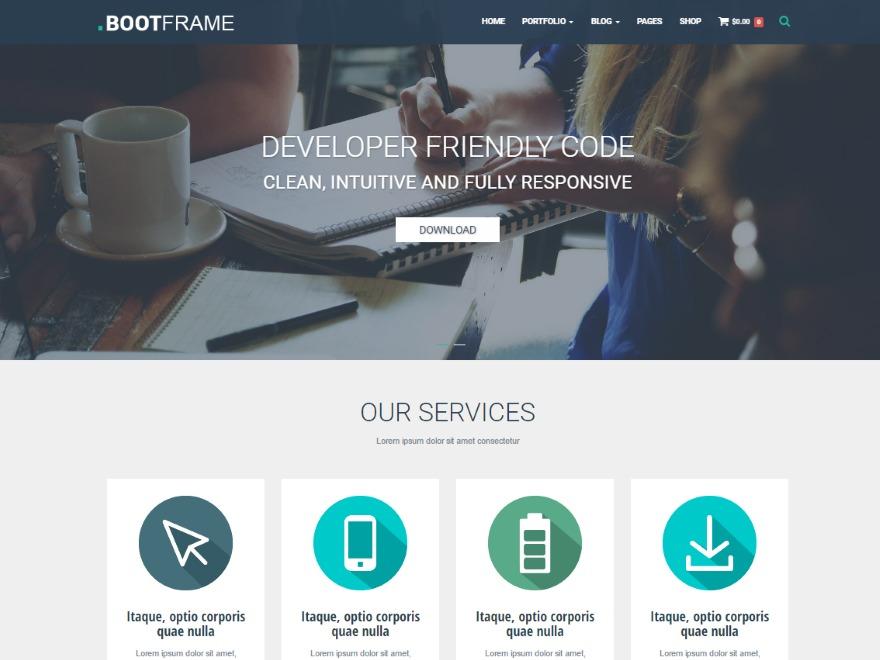 BootFrame Core personal blog WordPress theme