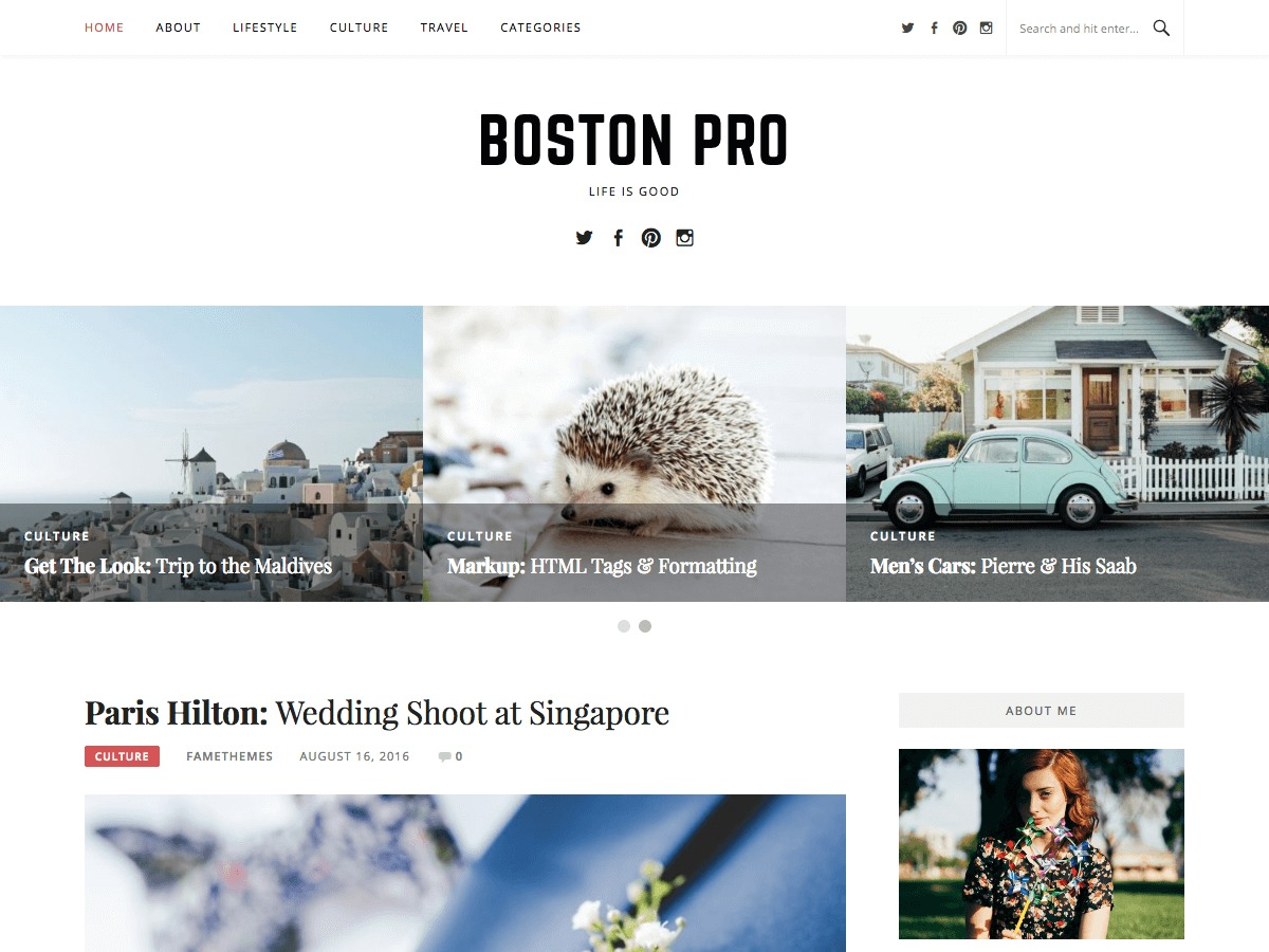 Boston Pro WordPress blog template