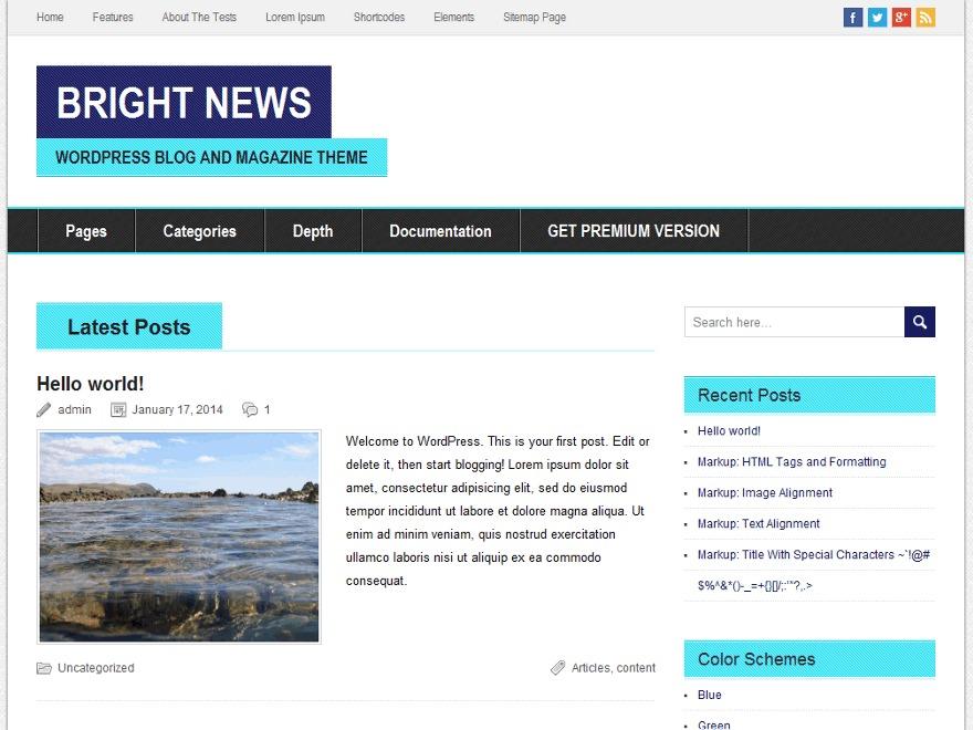 BrightNews WordPress ecommerce theme