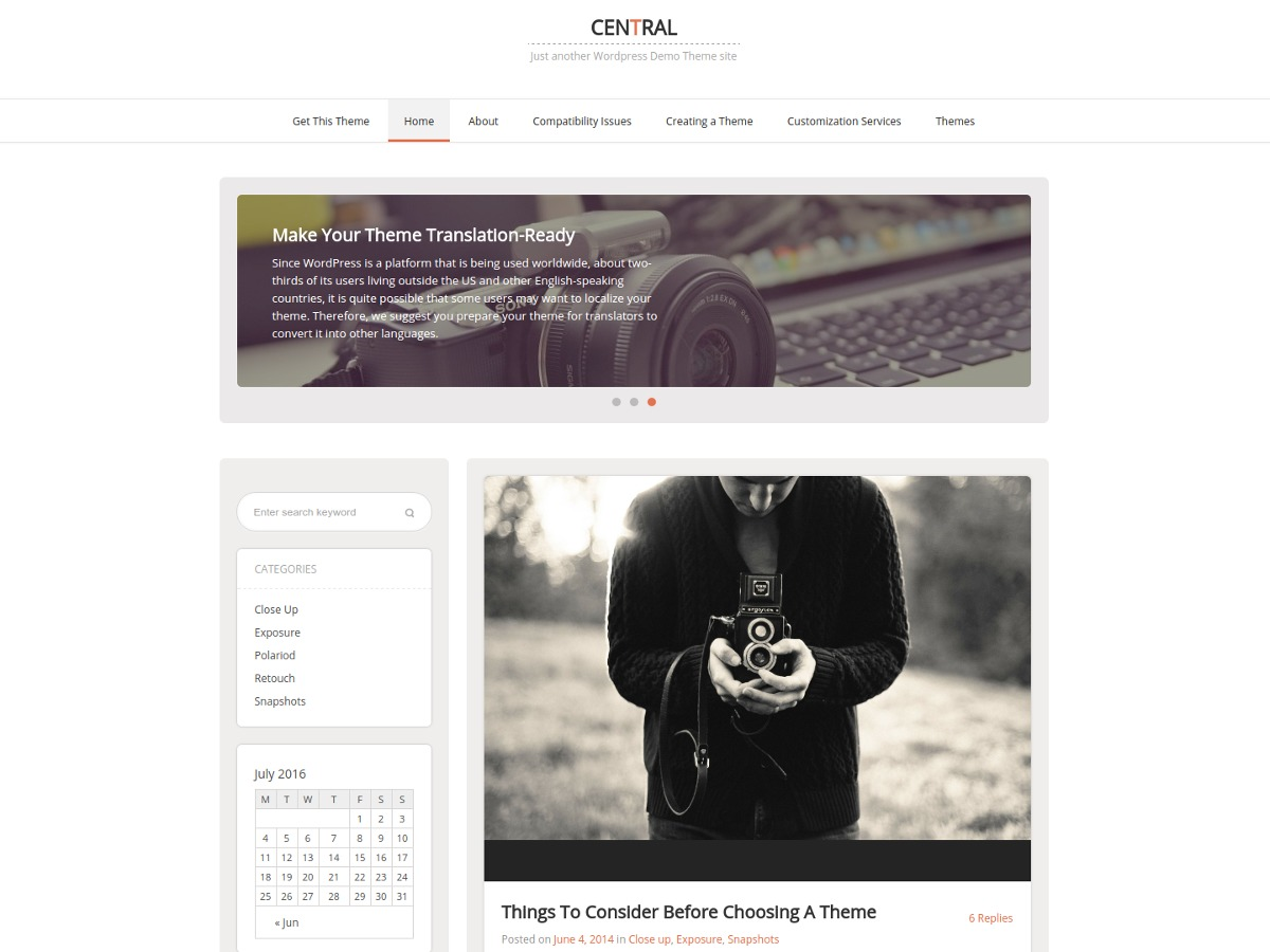 Central free WP theme