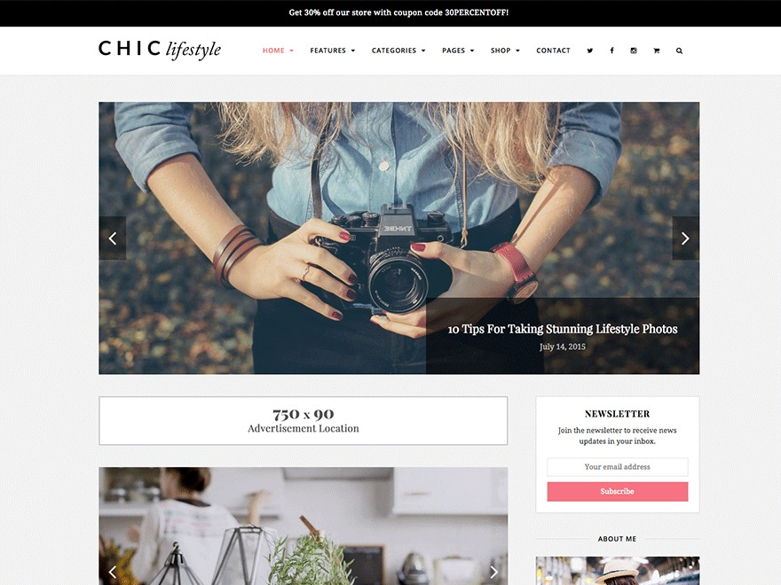 Chic WordPress ecommerce template