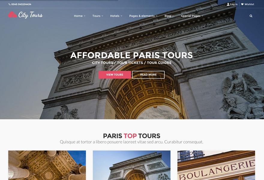 CityTours WordPress theme design