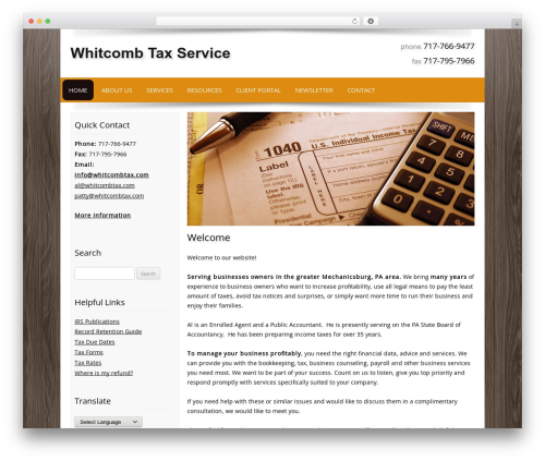 Customized WordPress theme - whitcombtax.com