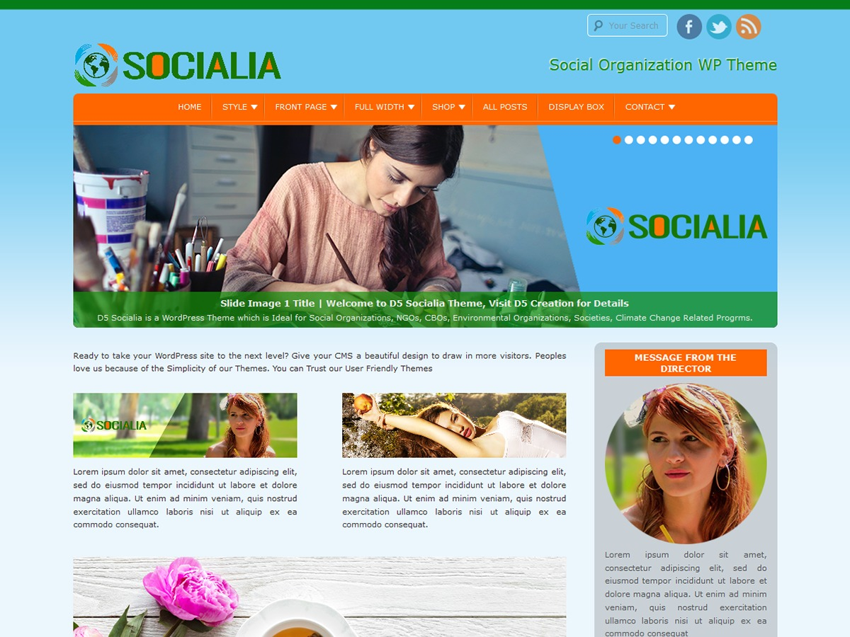 D5 Socialia WordPress template free