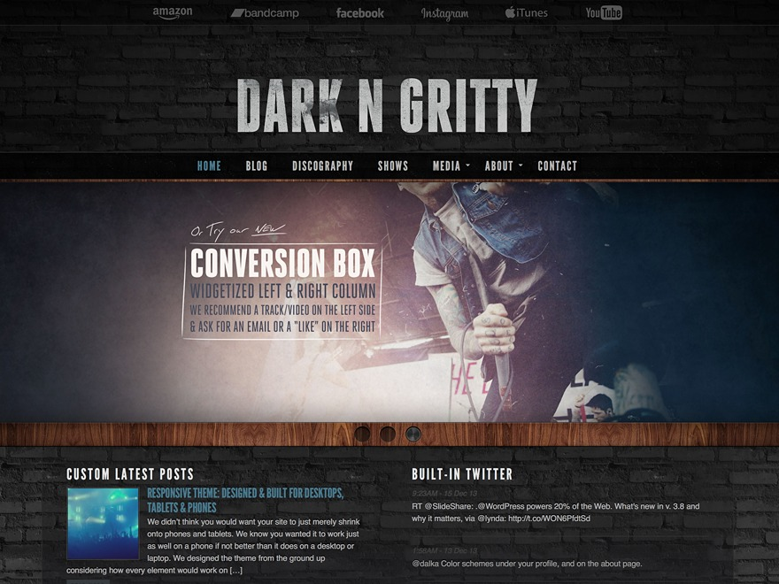 Dark N Gritty Evolved best WordPress video theme