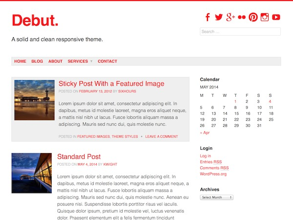 Debut WordPress photo theme