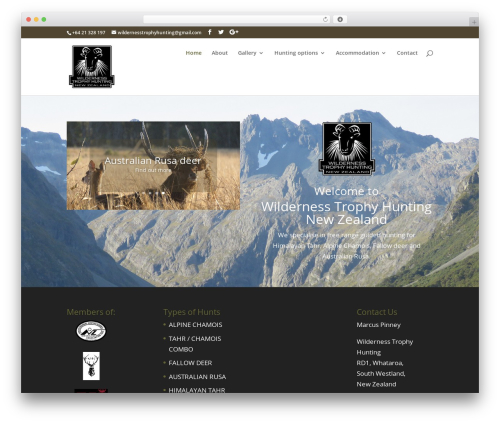Divi template WordPress - wildernesstrophyhunting.co.nz