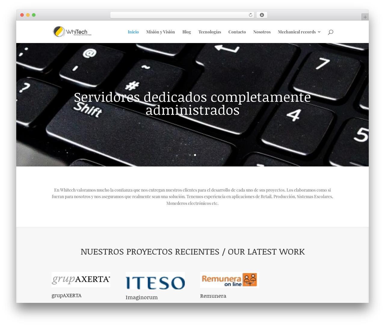 Divi WordPress theme - whitech.com.mx