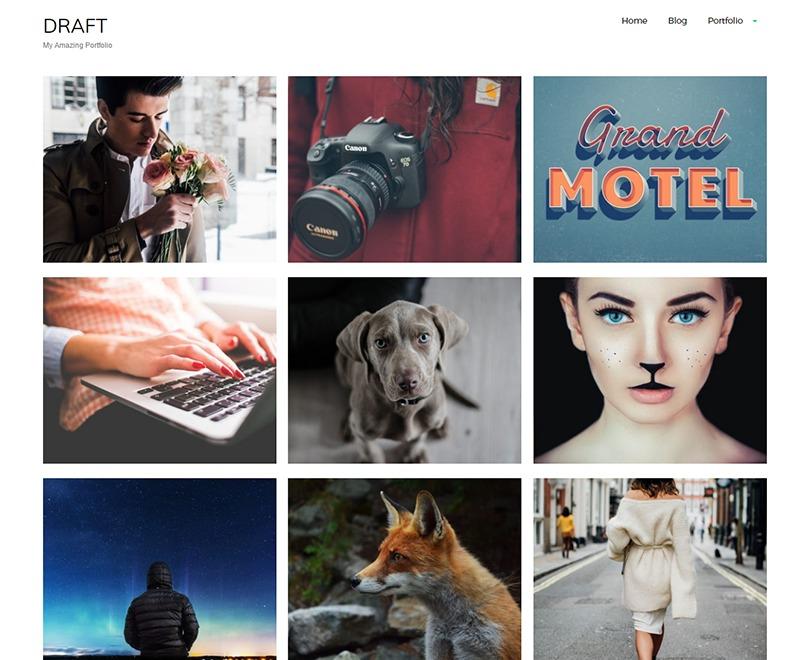 draft portfolio WordPress portfolio template