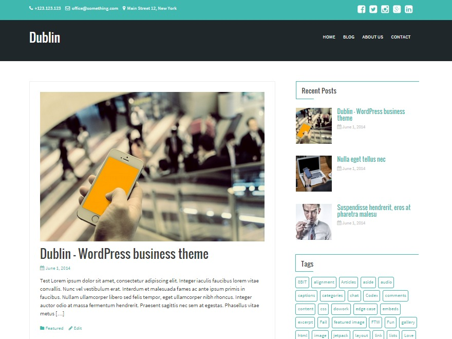 Dublin company WordPress theme