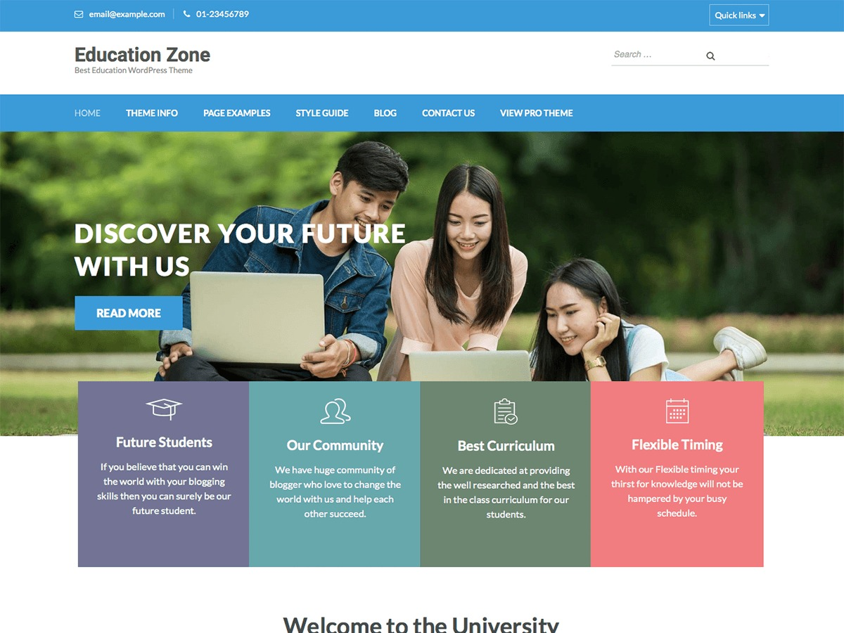 Education Zone WordPress theme free download