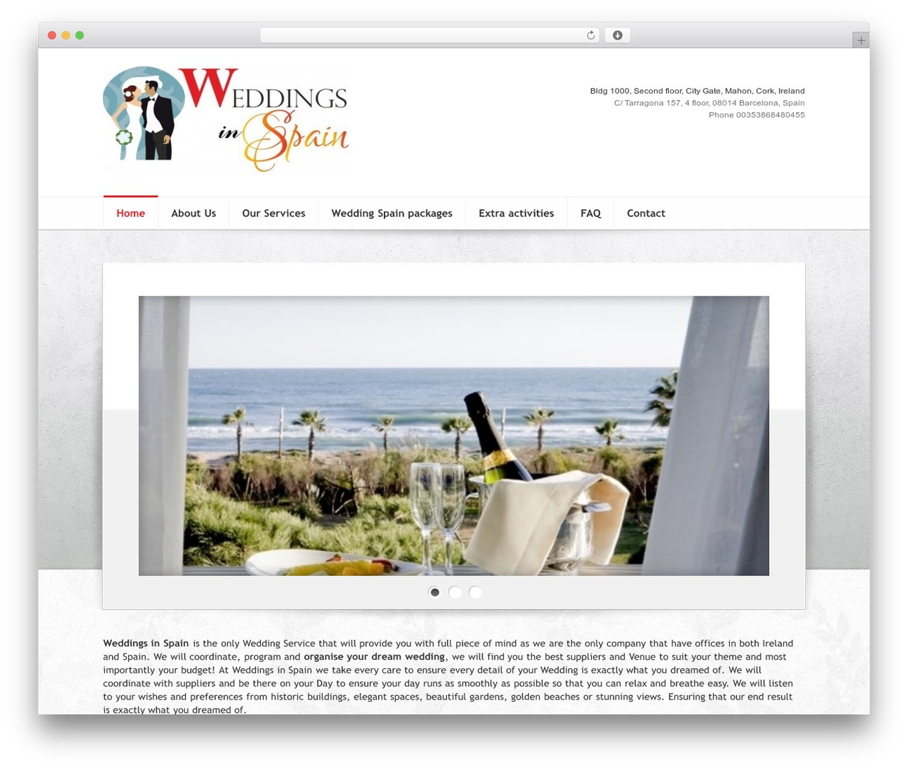 Elegance WordPress theme - weddingsinspain.ie