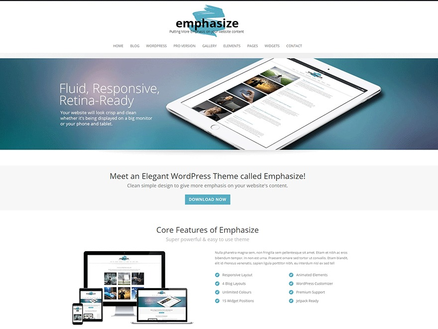 Emphasize WordPress blog template
