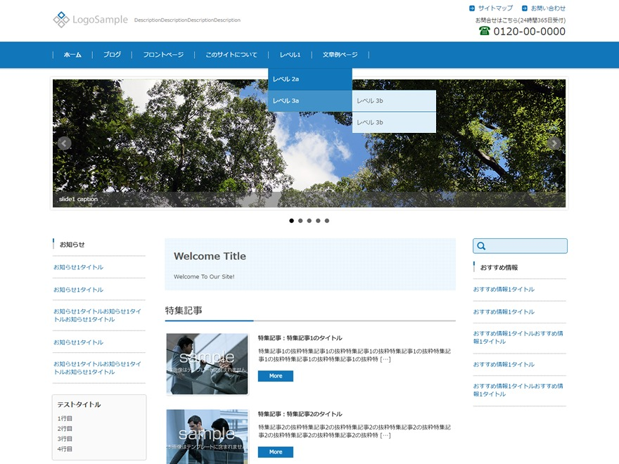 FSV002WP BASIC CORPORATE 01 (BLUE) WordPress template for business