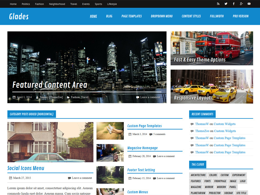 Glades free WordPress theme