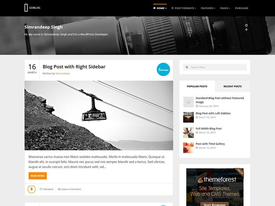 GoBlog WordPress blog template