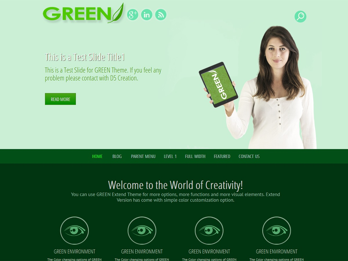 GREEN EYE free WordPress theme