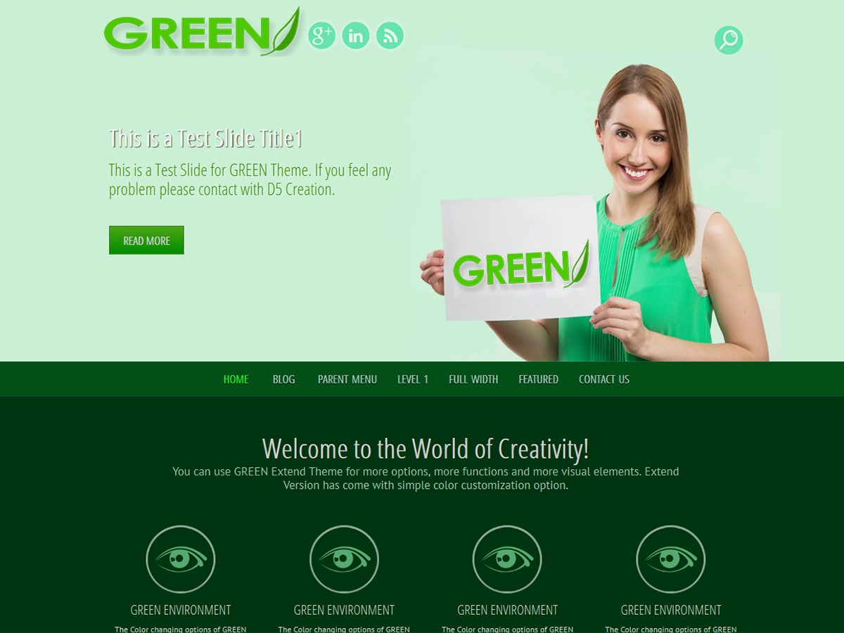 GREEN EYE free WordPress theme