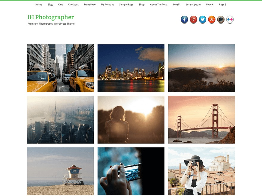 IH Photographer best free WordPress theme